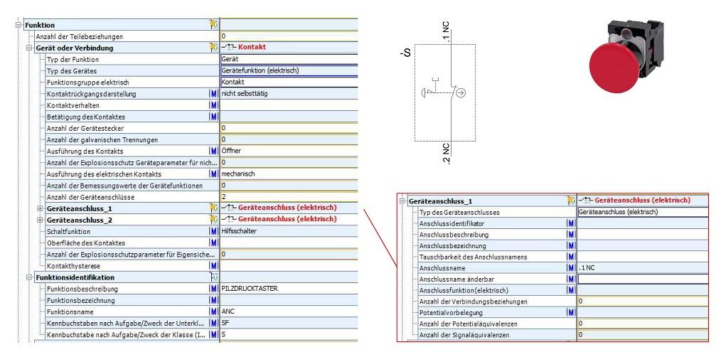 Eine Tabelle zeigt die Funktionsbeschreibungen in ECLASS