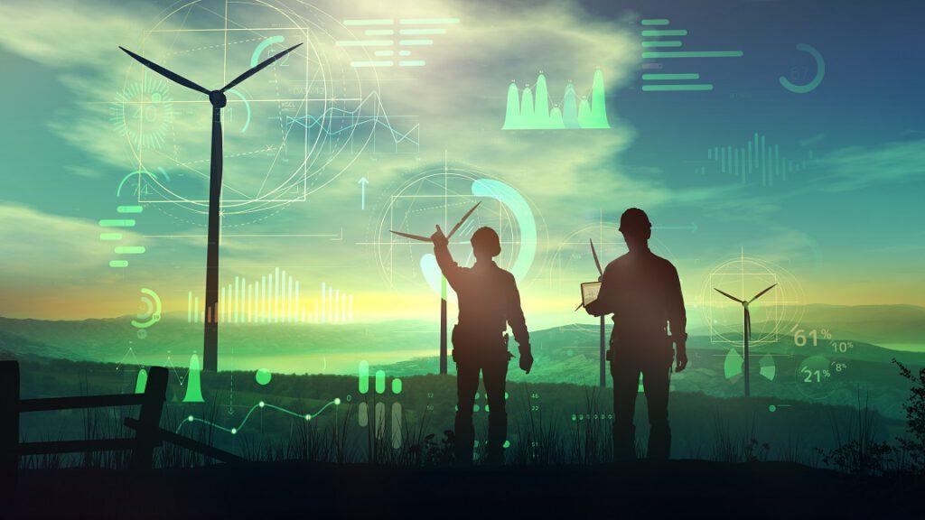 Engineers look at wind turbines and virtual data